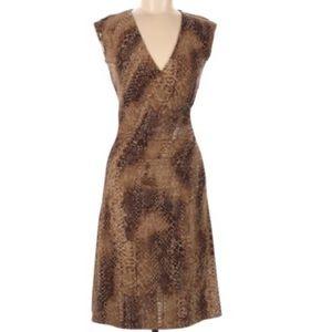 Lauren Ralph Lauren Faux Wrap Dress Brown Print S